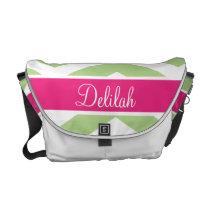 Green Pink Chevron Custom Name Messenger Bag
