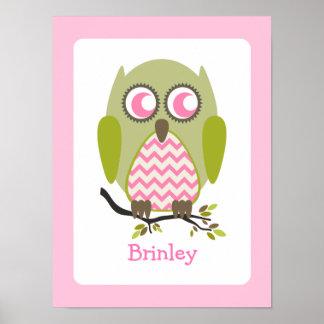 Green + Pink Chevron Owl Nursery Artwork Poster