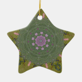 Green Pink Circular Mandela Kaleidoscope Pattern Ceramic Ornament