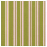 [ Thumbnail: Green & Pink Colored Lined/Striped Pattern Fabric ]