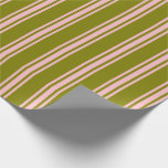 [ Thumbnail: Green & Pink Colored Lined/Striped Pattern Wrapping Paper ]