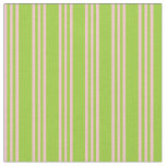 [ Thumbnail: Green & Pink Colored Stripes/Lines Pattern Fabric ]