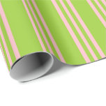 [ Thumbnail: Green & Pink Colored Stripes/Lines Pattern Wrapping Paper ]