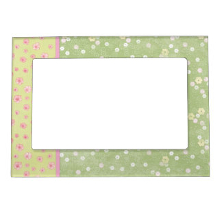 Green Pink Cream Flowers 5 x 7 Magnetic Frame
