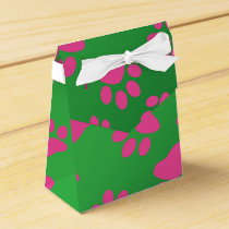 Green pink dog paws favor box