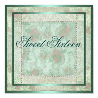 Green & Pink Floral Patch Work Birthday Invitation