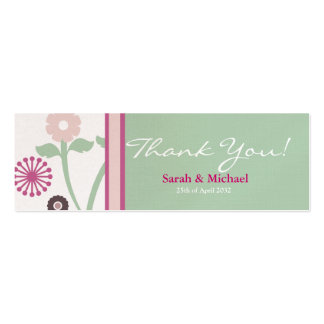 green & pink  floral Wedding favor Gift tag Business Card Templates