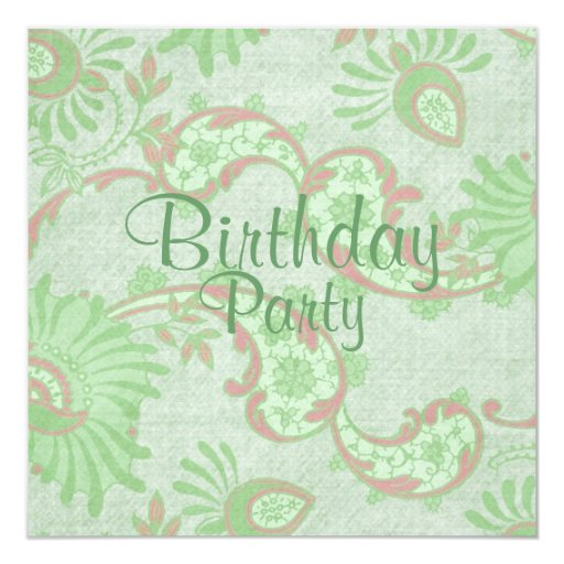 Green & Pink Flower Lace Birthday Invitation
