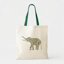 Green & Pink Flowers Elephant Illustration Tote Bag
