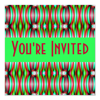 green pink fractal 5.25x5.25 square paper invitation card