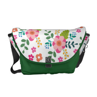 Green Pink Fuchsia Spring Flower Floral Pattern Messenger Bag