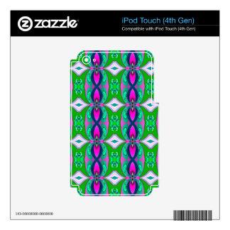 Green Pink Geometric Pattern. Elegant Design iPod Touch 4G Decals