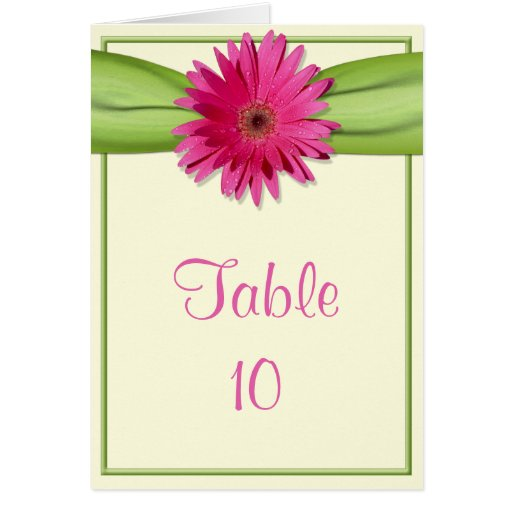 Green Pink Gerbera Daisy Table Number Card