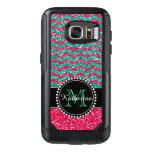 Green& Pink Glitter Chevron Personalized Defender Otterbox Samsung Galaxy S7 Case at Zazzle