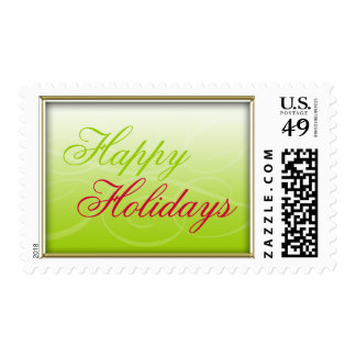 Green Pink Gold Happy Holidays Postage Stamp