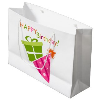 Green Pink Happy Birthday Large Gift Bag