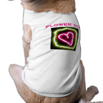 Green & pink heart flower dog shirt