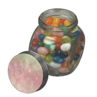 Green Pink Ikat Overlap Circles Geometric Pattern Glass Jar