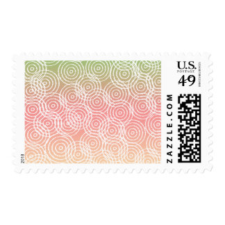 Green Pink Ikat Overlap Circles Geometric Pattern Postage