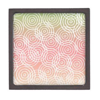 Green Pink Ikat Overlap Circles Geometric Pattern Premium Keepsake Box