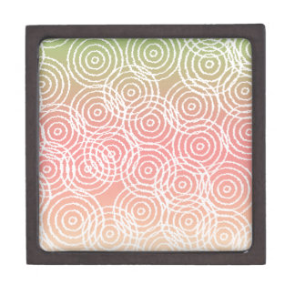 Green Pink Ikat Overlap Circles Geometric Pattern Premium Trinket Boxes