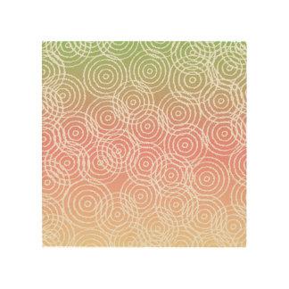 Green Pink Ikat Overlap Circles Geometric Pattern Wood Wall Art