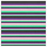 [ Thumbnail: Green, Pink, Indigo, and Black Lines Fabric ]