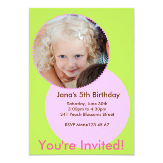 Green & Pink Invitation Photo  Card