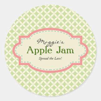 Green Pink Jam Jar Labels, Custom Classic Round Sticker