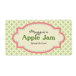 Green Pink Jam Jar Labels, Custom Label