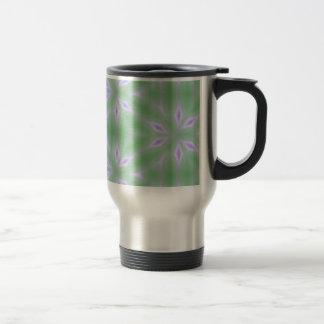 Green Pink Lavender Floral Abstract Petal Pattern Travel Mug