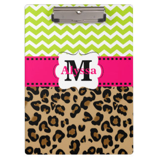 Green Pink Leopard Chevron Personalized Clipboards