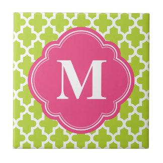 Green & Pink Modern Moroccan Custom Monogram Small Square Tile