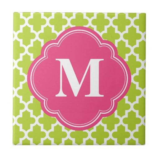 Green & Pink Modern Moroccan Custom Monogram Tile