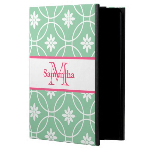 Green Pink Monogram Geometric Pattern Cover For iPad Air