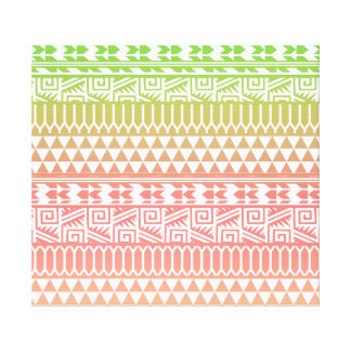 Green Pink Ombre Geometric Aztec Tribal Pattern Stretched Canvas Prints