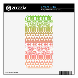Green Pink Ombre Geometric Aztec Tribal Pattern Decal For The iPhone 4S
