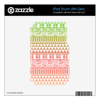 Green Pink Ombre Geometric Aztec Tribal Pattern Decals For iPod Touch 4G
