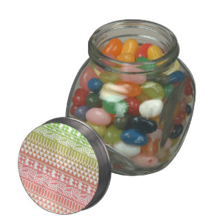 Green Pink Ombre Geometric Aztec Tribal Pattern Jelly Belly Candy Jar