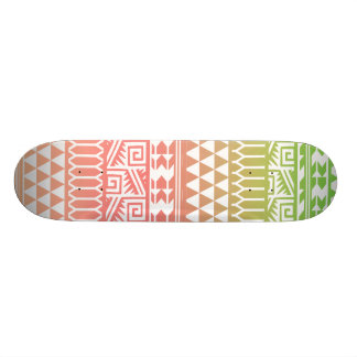 Green Pink Ombre Geometric Aztec Tribal Pattern Skateboard