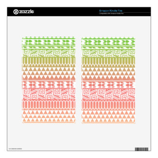 Green Pink Ombre Geometric Aztec Tribal Pattern Skin For Kindle Fire