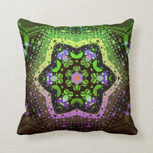 Green Pink Ombre Geometric Decorative Cushion