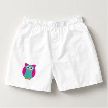 Green pink owl cartoon boxers