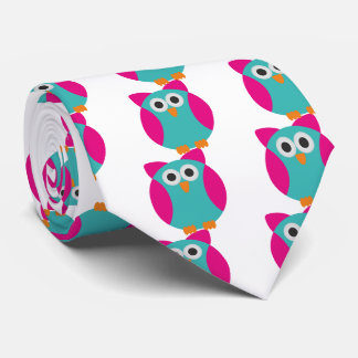 Green pink owl cartoon neck tie