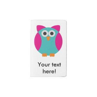 Green pink owl cartoon pocket moleskine notebook