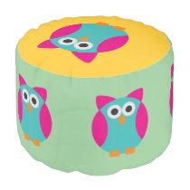 Green pink owl cartoon pouf