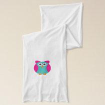 Green pink owl cartoon scarf