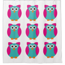 Green pink owl cartoon shower curtain