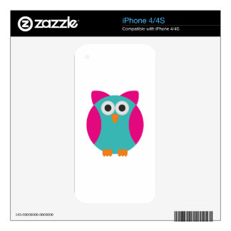 Green pink owl cartoon skin for iPhone 4S