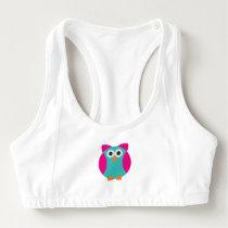 Green pink owl cartoon sports bra